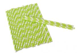 Rietjes stippen junior 19 cm papier groen/wit 25 stuks