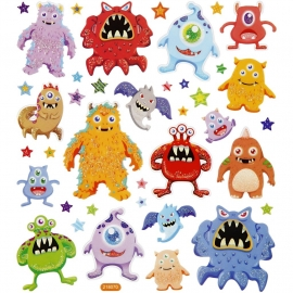 Fancy stickers, vel 15x16,5 cm, Monsters, 1vel