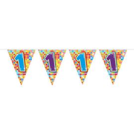 Vlaggenlijn mini  Birthday Blocks 1 Jaar - 3 meter