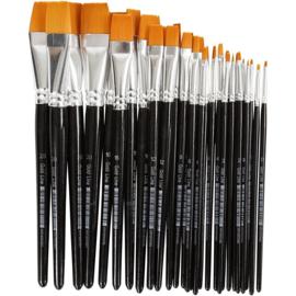 Gold Line penselen, 0+2+4+8+12+16+20 , b: 2-24 mm, plat, 30div