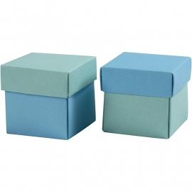 Vouwdoos, afm 5,5x5,5 cm, 250 gr, lichtturquoise/donkerturquoise, 50 stuks