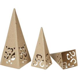 Kegels met ornamenten, h: 13,5+20 cm, afm 6x6+8x8 cm, 4stuks