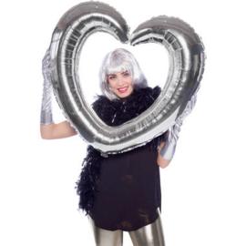Folieballon Hartvormige Fotolijst Zilver - 80x70cm
