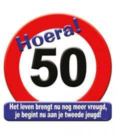 Huldeschild Verkeersbord Hoera 50  50 x 50
