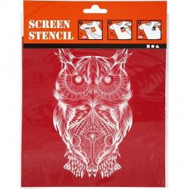 Screen stencil, vel 20x22 cm, uil, 1vel
