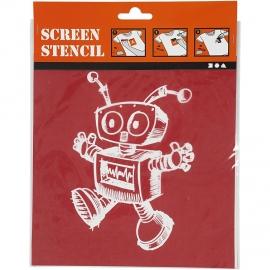 Screen stencil, vel 20x22 cm, robot, 1vel