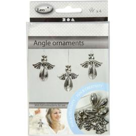 Engel ornamenten, h: 5,5 cm, b: 4,5 cm, zilver, 4stuks