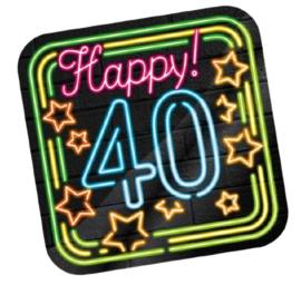 Huldeschild Neon 40 Jaar 50 x 50 cm karton zwart