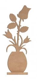 Bloem: Vaas met roos/tulp - 58 cm