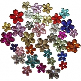 Strasstenen, d: 6+10+12 mm, kleuren assorti, bloem