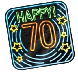 Huldeschild Neon 70 Jaar 50 x 50 cm karton zwart