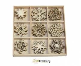 Houten ornamenten - Kristallen 45 pcs - box 10,5 x 10,5 cm