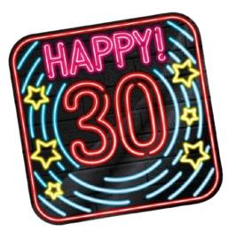 Huldeschild Neon 30 Jaar 50 x 50 cm karton zwart