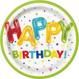 Borden Happy Balloon Birthday 18cm 8 stuks