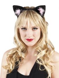 Tiara Kattenoren zwart/roze