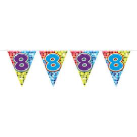 Vlaggenlijn mini  Birthday Blocks 8 Jaar - 3 meter