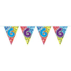 Vlaggenlijn mini  Birthday Blocks 6 Jaar - 3 meter