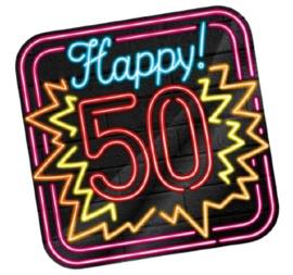 Huldeschild Neon 50 Jaar 50 x 50 cm karton zwart
