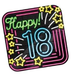 Huldeschild Neon 18 Jaar 50 x 50 cm karton zwart