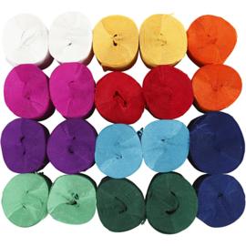 Crepepapier rollen - Assortiment, b: 5 cm, rollen, 20 rollen