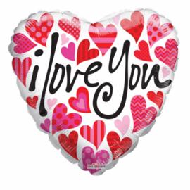 Many Hearts 45 cm wit/roze