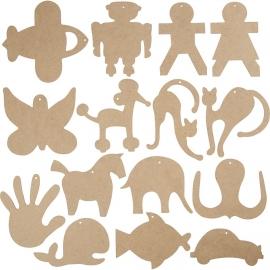 Houten ornamenten (12 cm, dikte 3 mm) MDF (13 stuks)