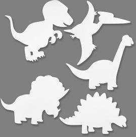 Kartonnen Dinosaurussen, h: 15-22 cm, 16 assorti, 230 gr (Teach Me)
