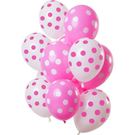 Ballonnen Stippen Roze-Wit 30cm - 12 stuks