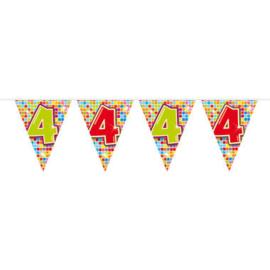 Vlaggenlijn mini  Birthday Blocks 4 Jaar - 3 meter