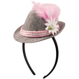Tiara mini Trilby hoed roze Oktoberfest
