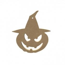 Halloween Pompoen met hoed 15 cm
