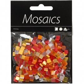 Mini mozaiek rood/oranje  (5x5 mm)