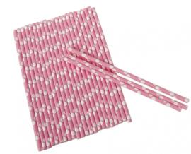 Rietjes stippen junior 19 cm papier roze/wit