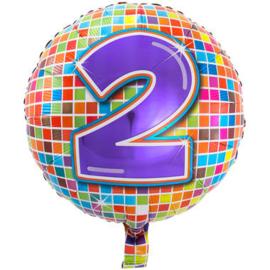 2 jaar Birthday Blocks folieballon - 43 cm