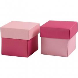 Vouwdoos, afm 5,5x5,5 cm, 250 gr, roze, 50 stuks