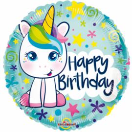 Folieballon Happy Birthday Unicorn junior 46 cm groen