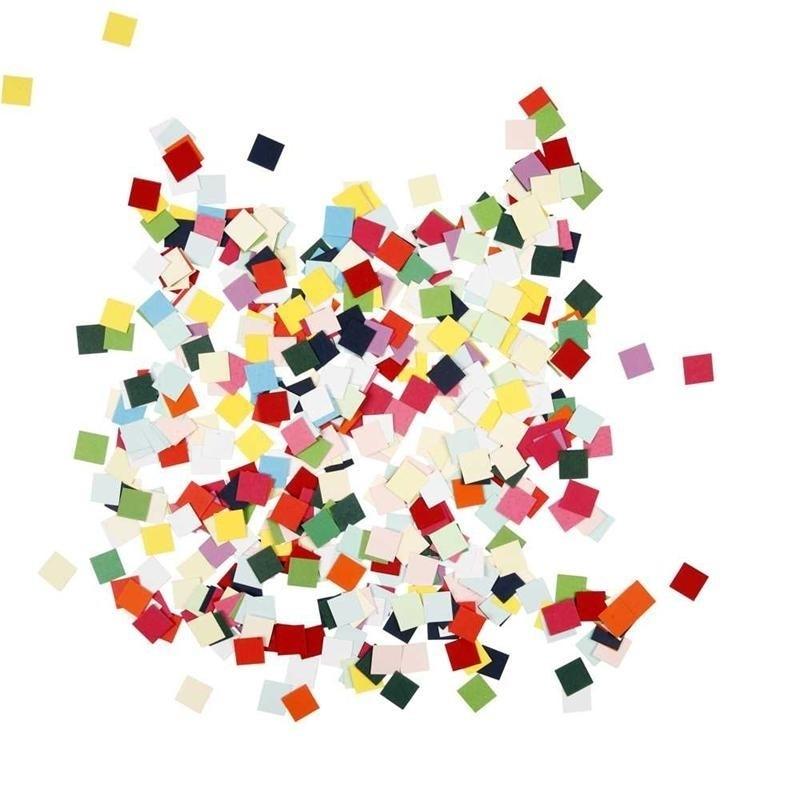 Karton mozaiek, afm 10x10 mm, kleuren assorti, vierkant, 180 gr