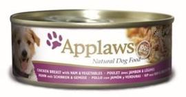 Applaws Dog Can Chicken, Ham & Veg. 12 x 156 gr