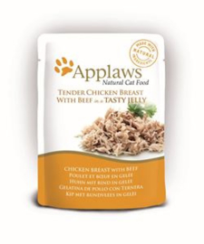 Applaws Cat Pouch Chicken/Beef in jelly 16 x 70 gr