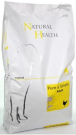 Natural Health Dog Chicken&Rice Adult 7,5 kg  Nu: inclusief Country Hunter Pouch Beef