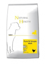 Dubbelpak! Natural Health Dog Chicken&Rice Adult 2x 12,5 kg  Nu: inclusief Country Hunter Pouch Beef