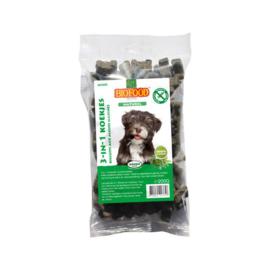 Eet uw hond gras/ poep? Biofood 3-in-1 koekjes naturel mini 200gr