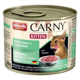 Animonda Carny Kitten Kattenvoer Rund, Kip & Konijn 6 x 200 gr
