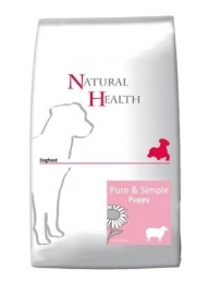 Dubbelpak! Natural Health hondenvoer Puppy Lam 2x 12,5 kg  Nu: inclusief  Country Hunter Pouch Beef