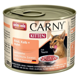 Animonda Carny Kitten Kattenvoer Rund, Kalf & Kip 6 x 200 gr