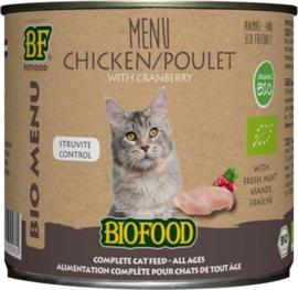 Biofood organic kat kip menu blik kattenvoer 200 gr per stuk