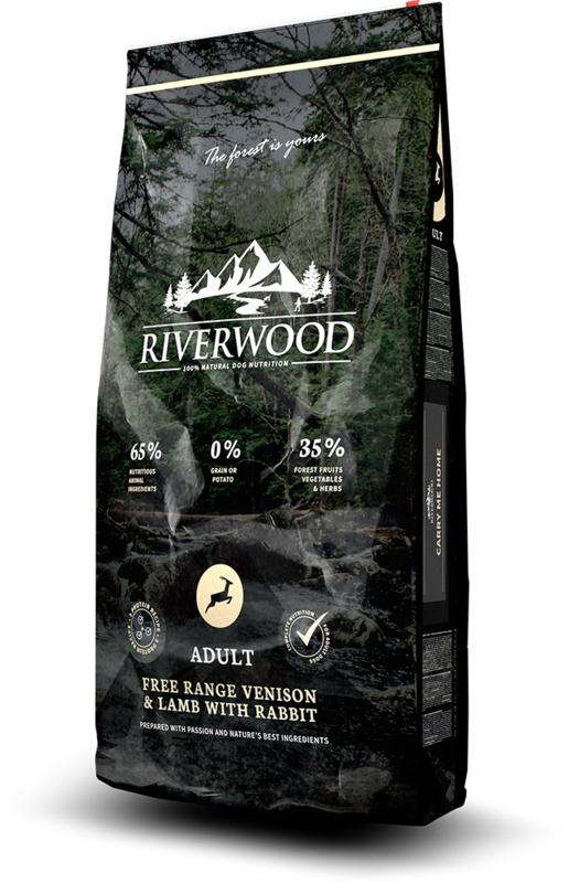 Riverwood Adult, Free Range Hert & Lam met Konijn 12 kg  graan- en glutenvrije