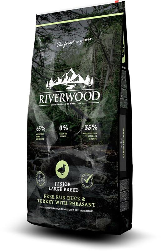 Riverwood Junior Large Breed, Free Run Eend & Kalkoen  met  Fazant 12 kg  graan- en glutenvrije Nu inclusief: Profine Grain Free snack Lamb