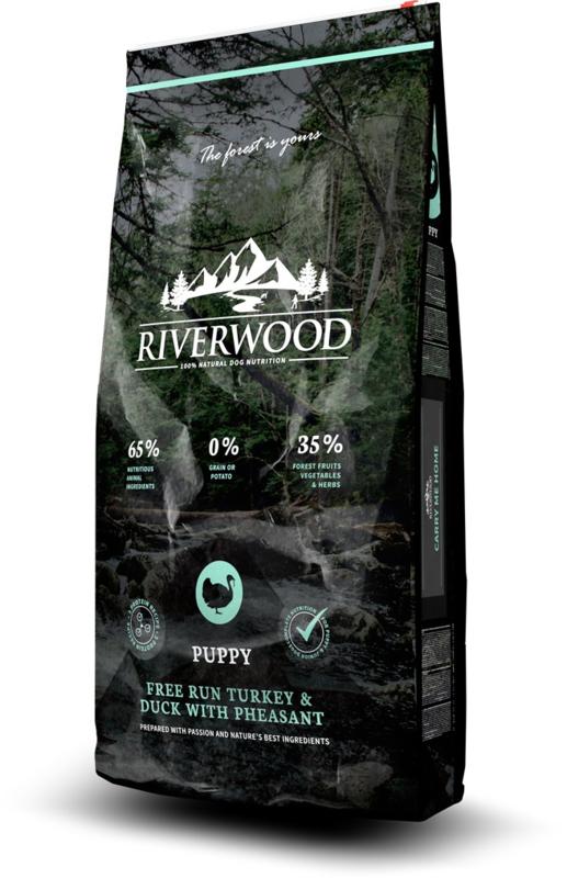 Riverwood Puppy, Free Run Kalkoen & Eend met Fazant 12 kg  graan- en glutenvrije Nu inclusief: Profine Grain Free snack Lamb