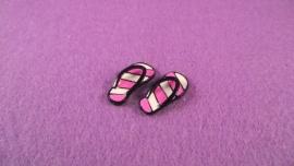 Slippers roze/wit